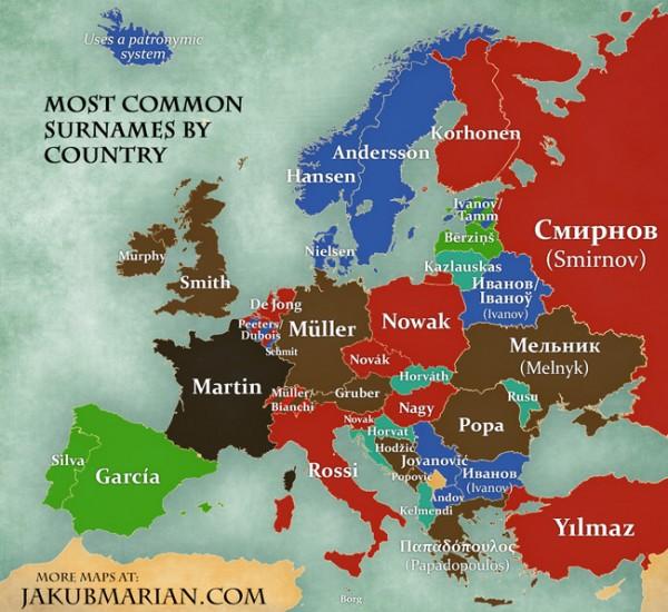 Лингвисты назвали самые распространенные фамилии в Европе. Карта (Влад-Днепр)