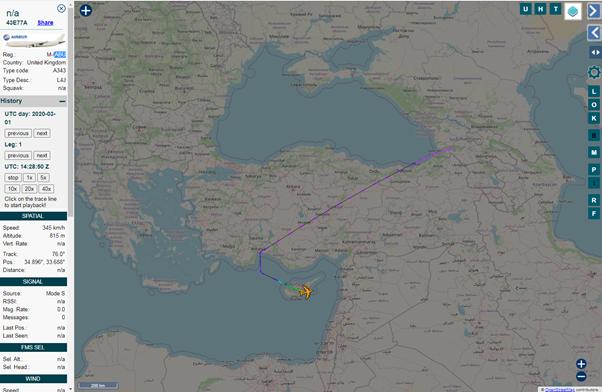 На следующий день из Узбекистана самолет летит на Кипр: здесь тоже доступна только часть маршрута, вышки «заметили» самолет только над горами Грузии.