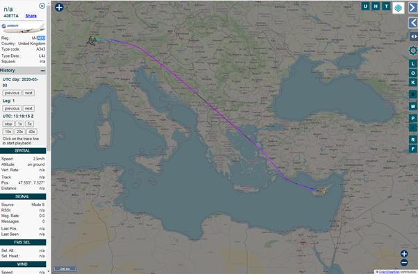 А через два дня самолет летит дальше в Европу.