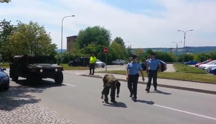 Отважный чех своей голой задницей пытался остановить натовскую колонну (sevik68)