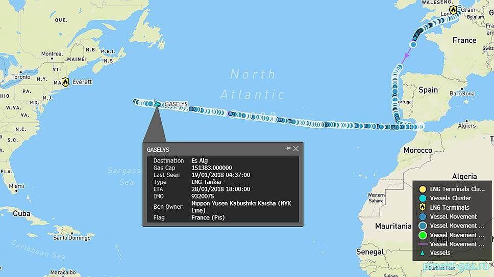 Танкер с российским СПГ для США развернулся посреди Атлантики (Газовик)