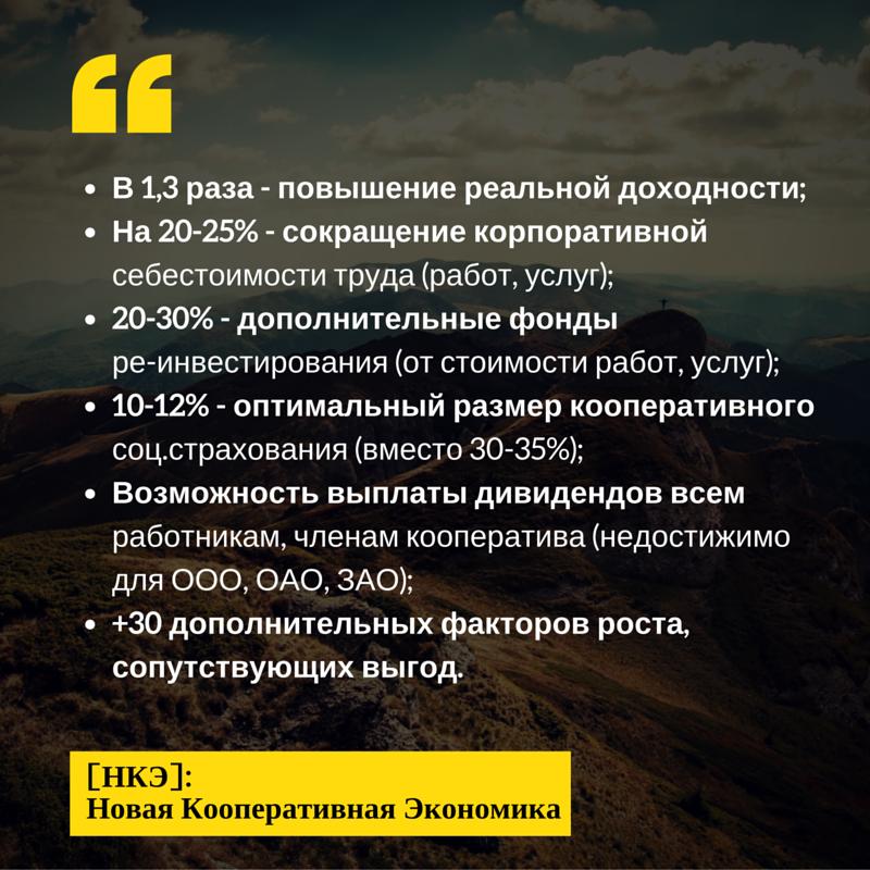 Проектные возможности - Новая кооперационная экономика (НКЭ)