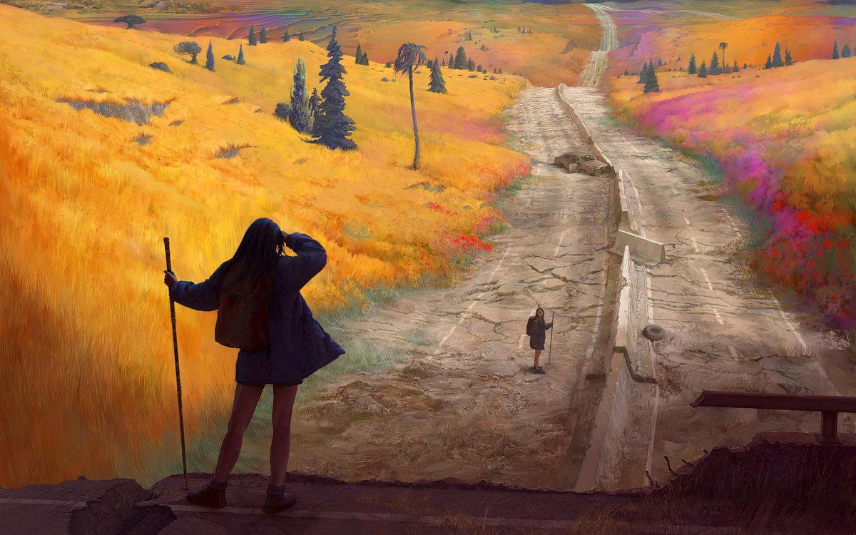 Путник идущий по дороге картинки