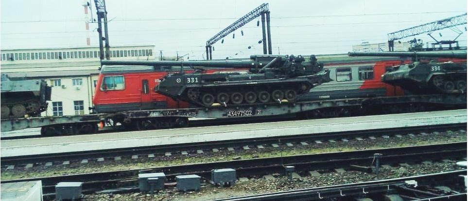 САУ  2С7 «Пион» едут на учения в Крым.