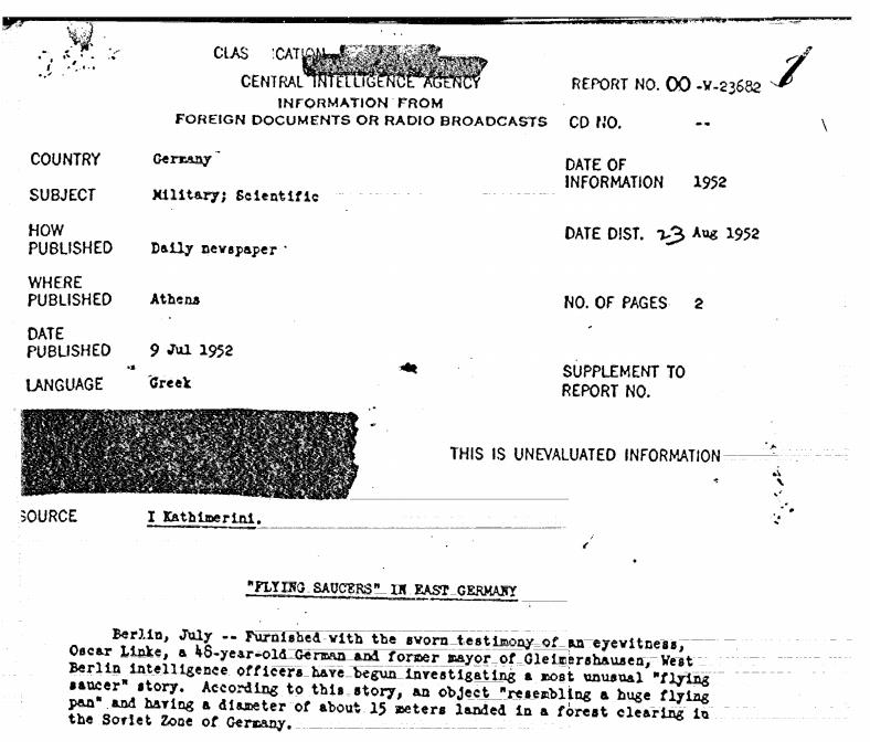 ОФИЦИАЛЬНО: ЦРУ рассекретило сотни материалов о НЛО (alexsword)